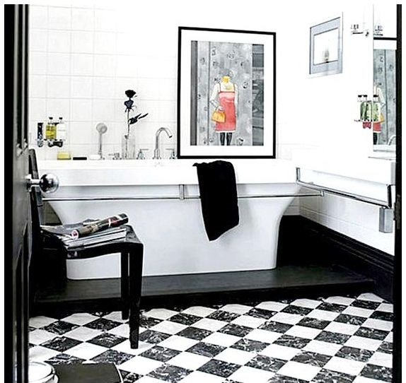 Ванная в чёрно-белом стиле